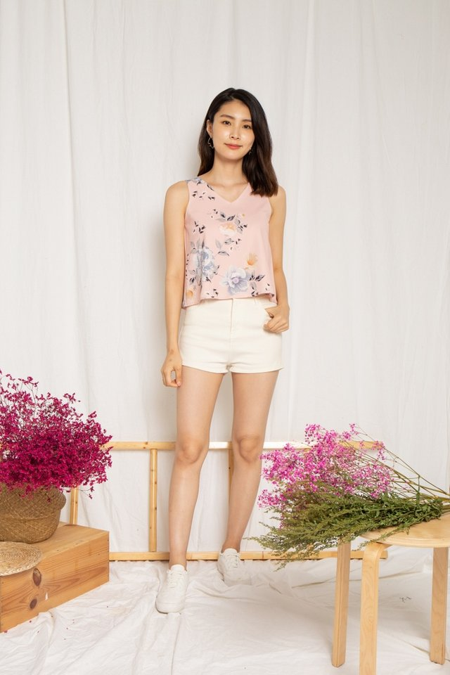 Yeni Floral V-Neck Top in Pink