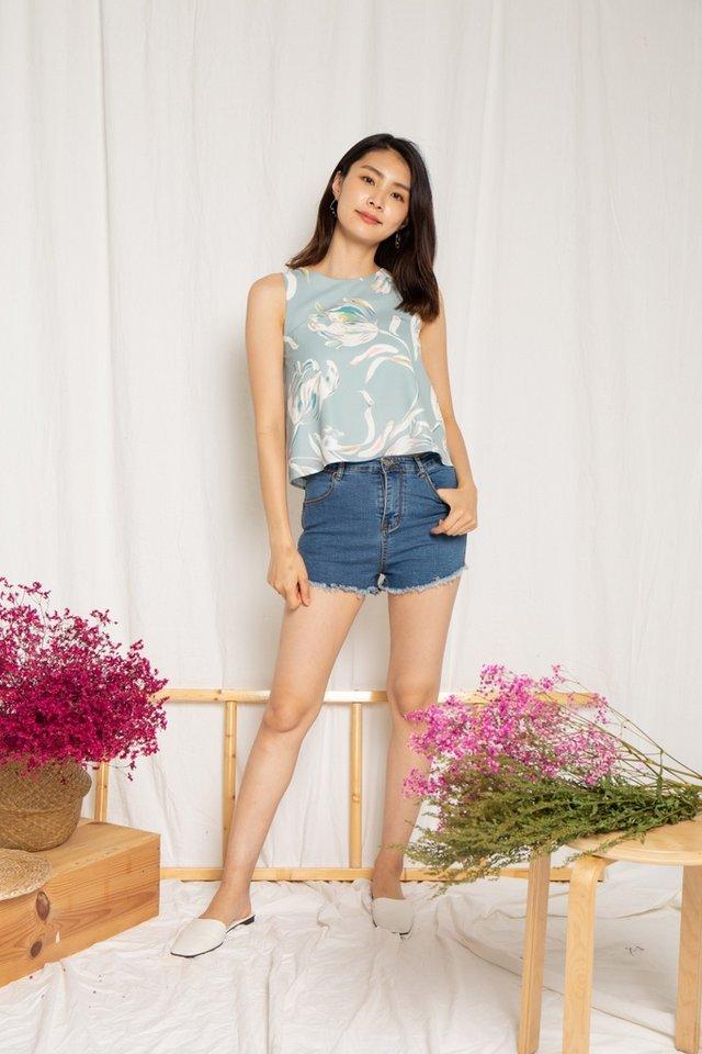 Elise Floral Top in Sage