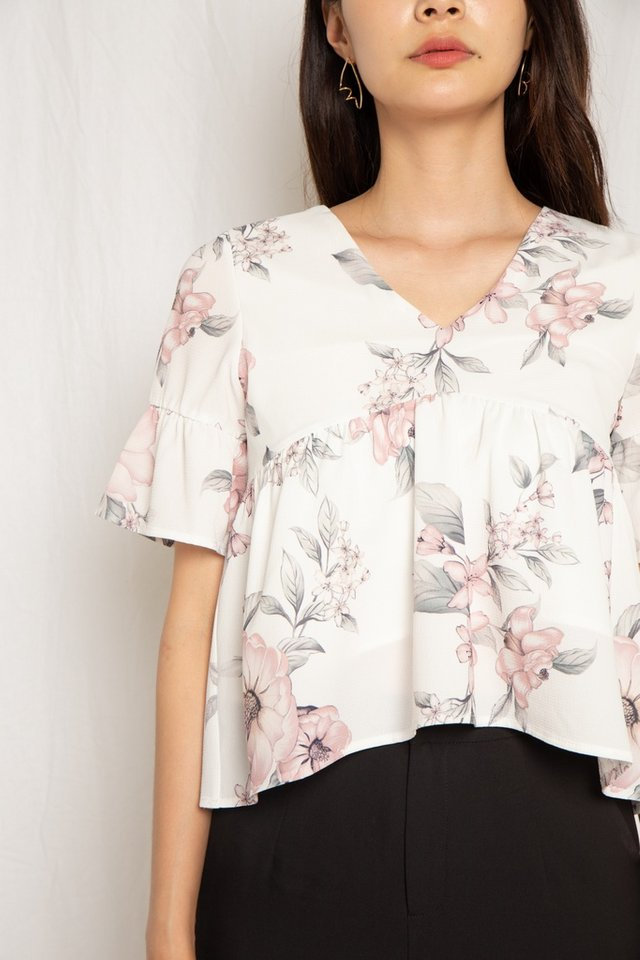 Aashi Floral Babydoll Ribbon Top in White