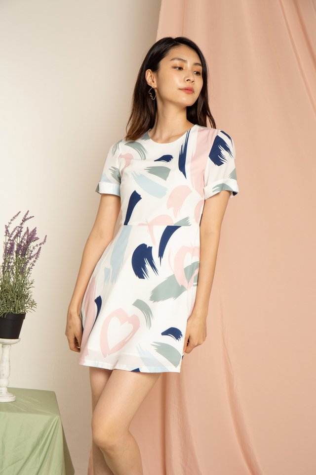 Olanna Abstract Skater Dress in Navy