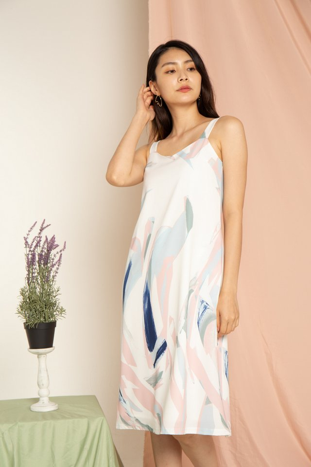Phoebe Painted Abstract Slip Midi Dress in Pink