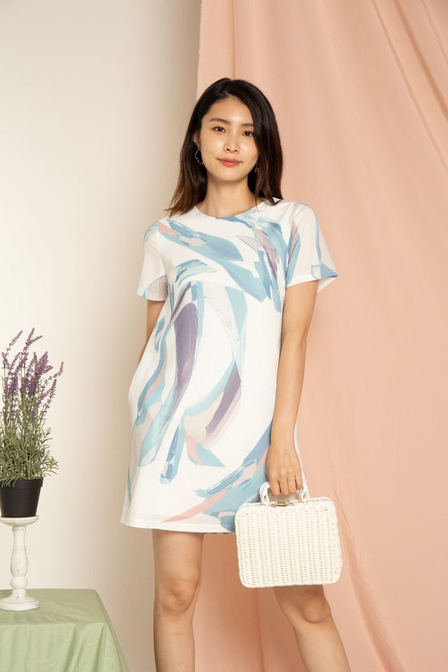 Emika Painted Abstract Shift Dress in Blue