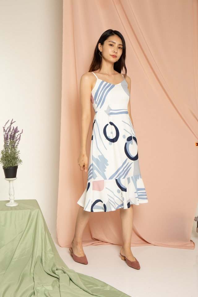 Jazelle Abstract Hem Midi Dress in Blue