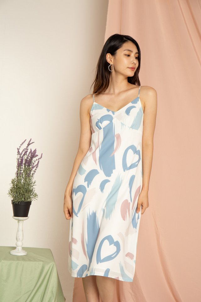 Delaine Abstract Slip Midi Dress in Mauve