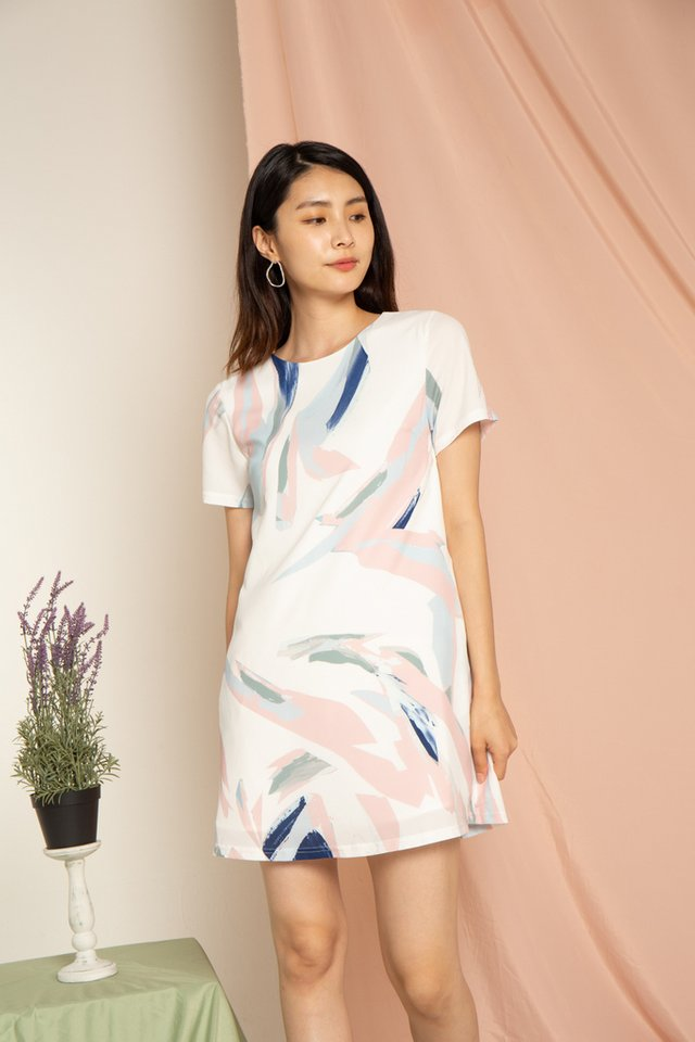 Emika Painted Abstract Shift Dress in Pink