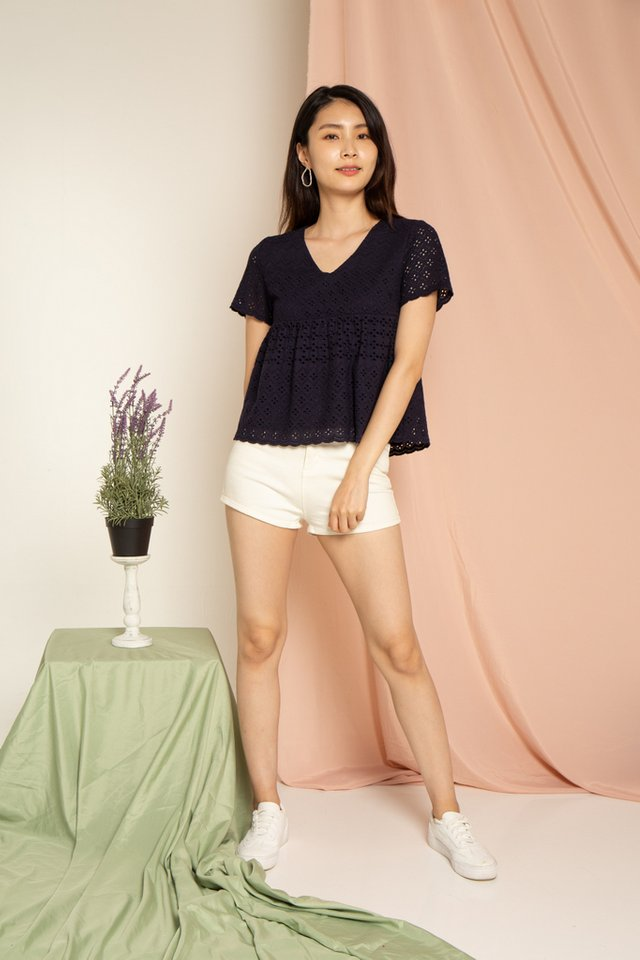 Janica Eyelet Babydoll Top in Navy