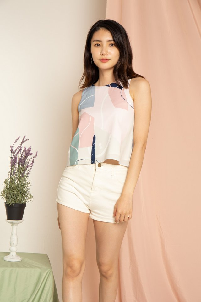 Macie Abstract Top in Pink