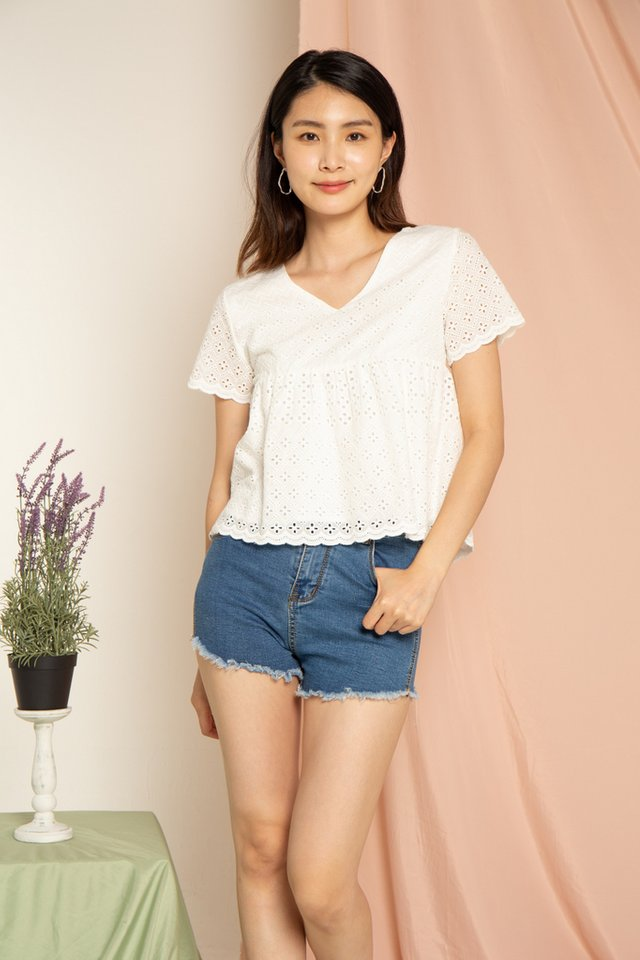 Janica Eyelet Babydoll Top in White
