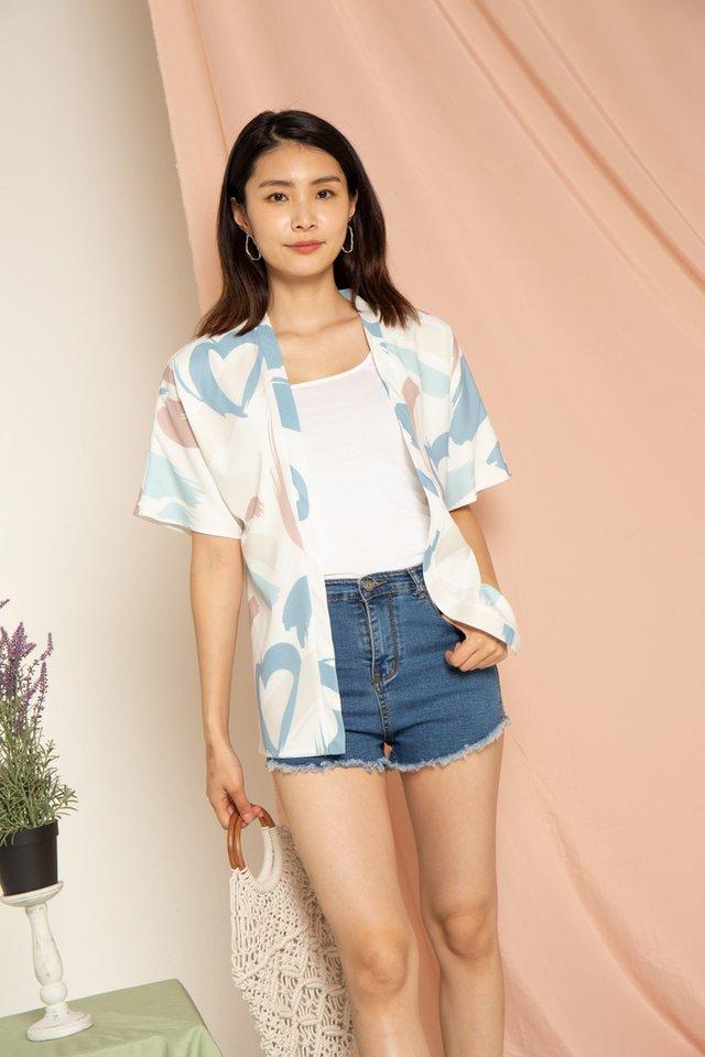 Aiyanna Abstract Kimono in Mauve