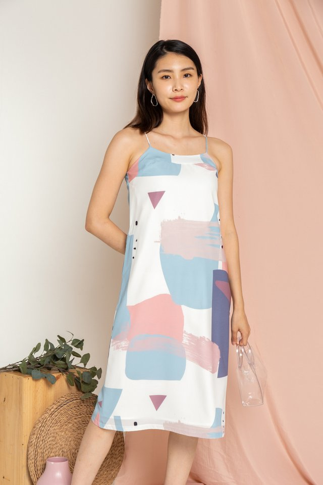 Cara Abstract Slip Dress in Blue