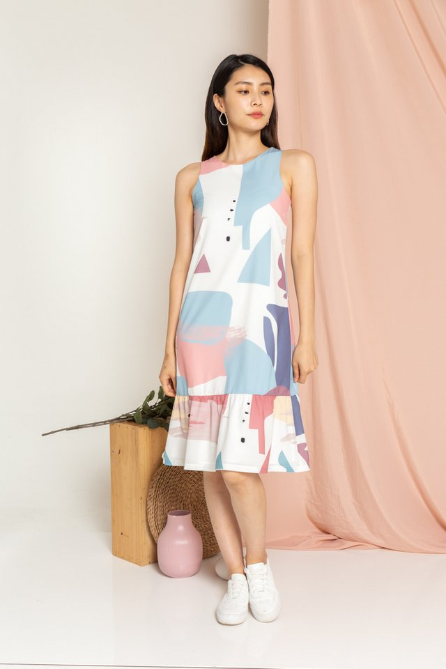 Fayre Abstract Dropwaist Midi Dress in Blue