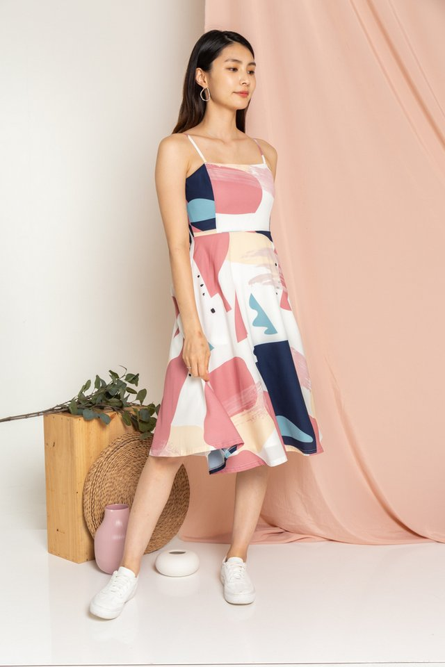 Raelynn Abstract Flare Midi Dress in Rose