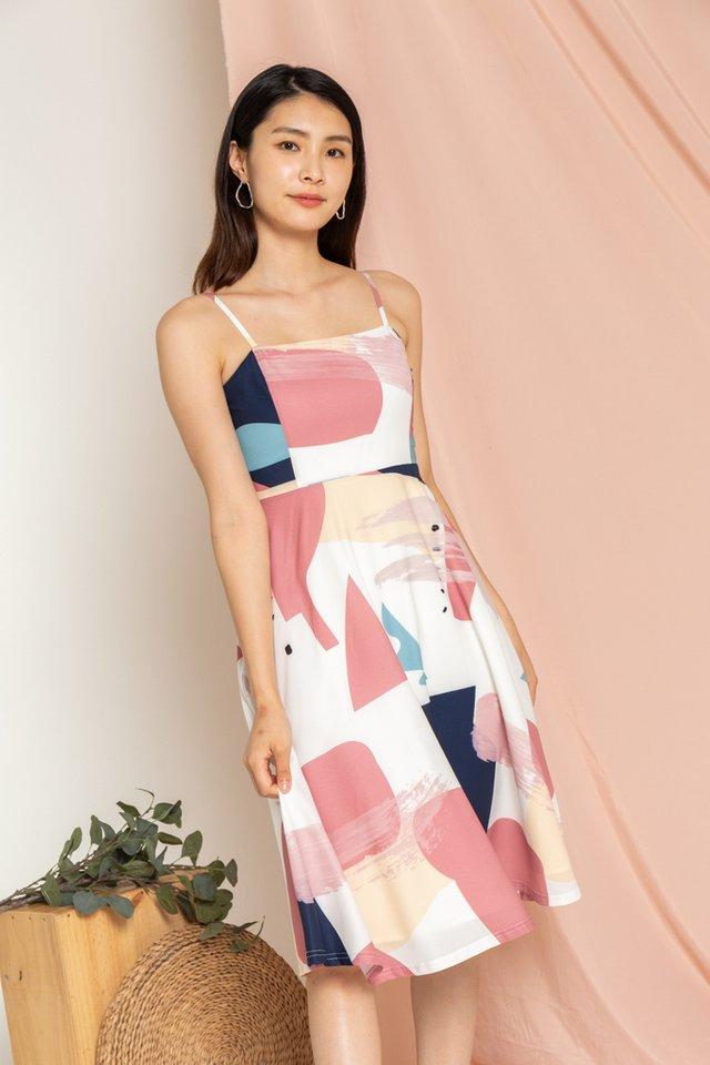 Raelynn Abstract Flare Midi Dress in Rose