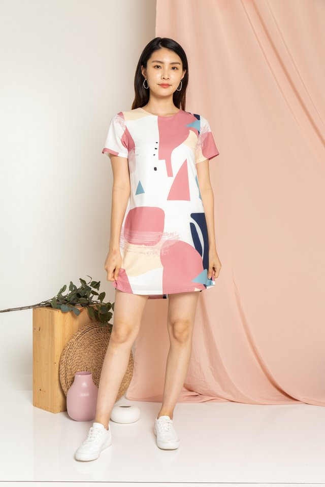 Gwenyth Abstract Shift Dress in Rose