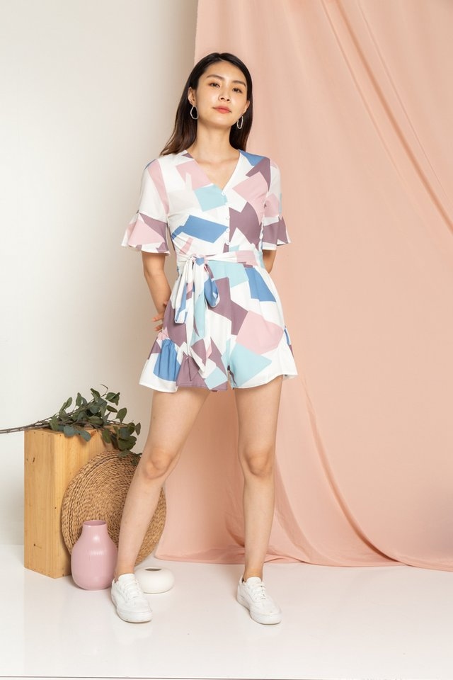 Daphne Geometric Button Romper in Blue