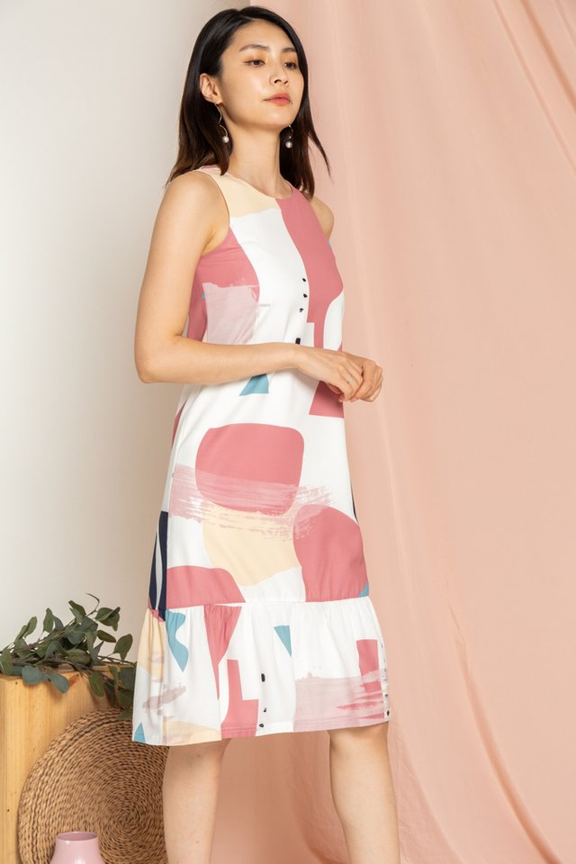 Fayre Abstract Dropwaist Midi Dress in Rose