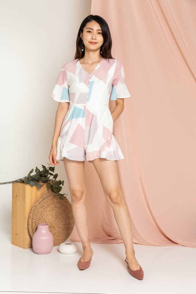 Daphne Geometric Button Romper in Pink