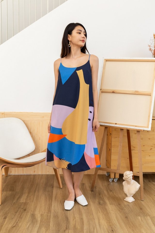 Nova Abstract Midi Slip Dress in Navy