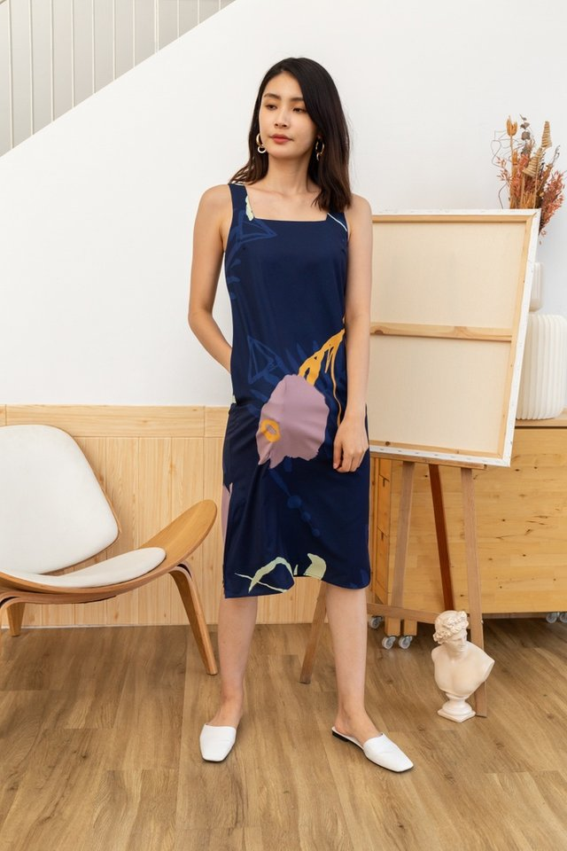 Lucia Abstract Midi Dress in Navy