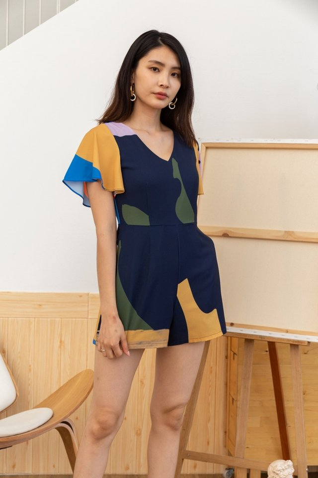 Malia Abstract Romper in Navy