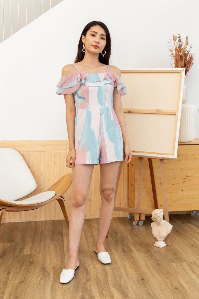 Alivia Brush Printed Cold-Shoulder Romper in Pink