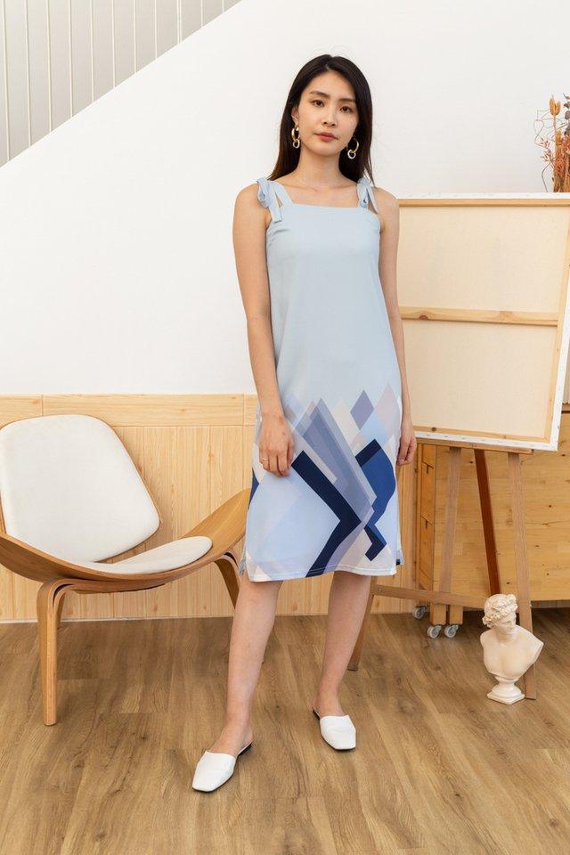 Makayla Geometric Ribbon Dress in Blue