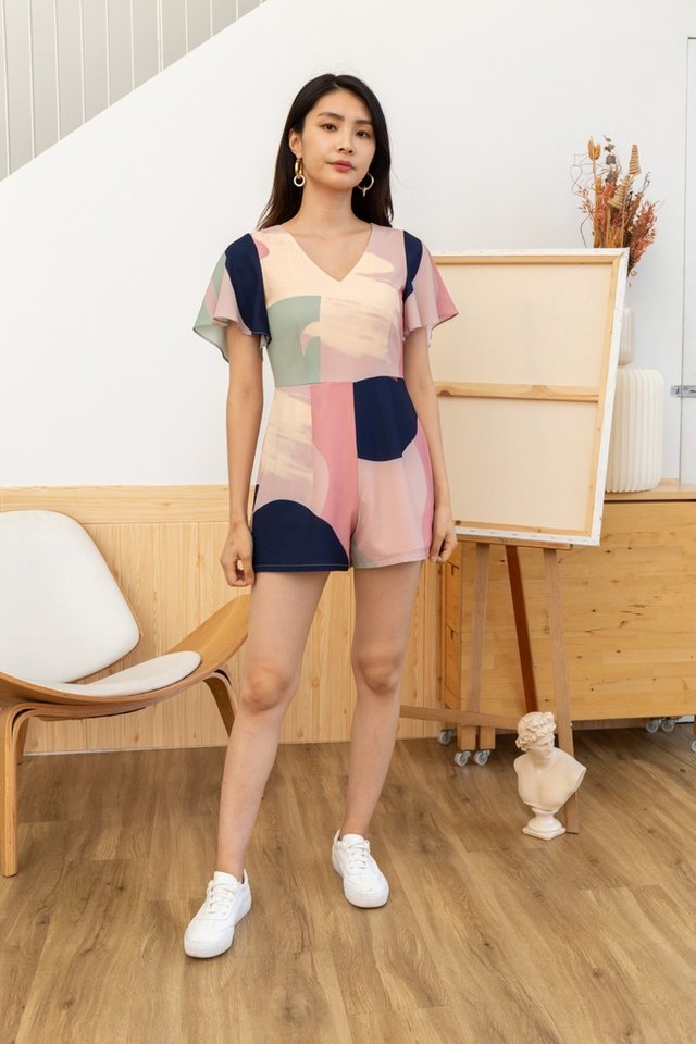 Malia Abstract Romper in Pink