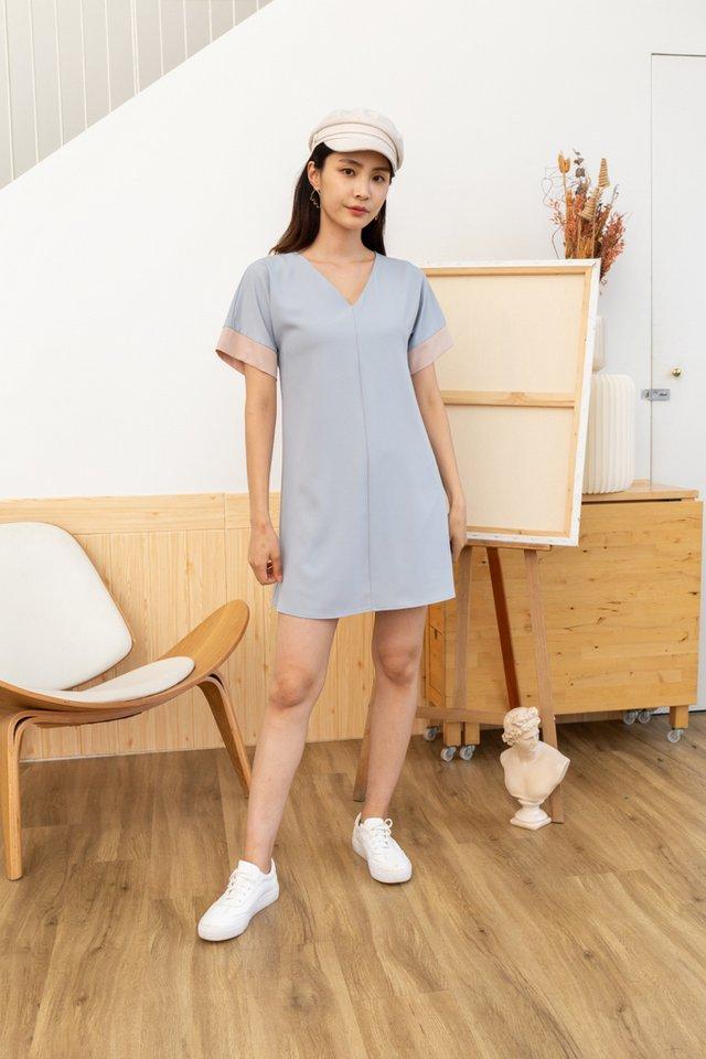 Piper Colourblock Shift Dress in Lavender Grey