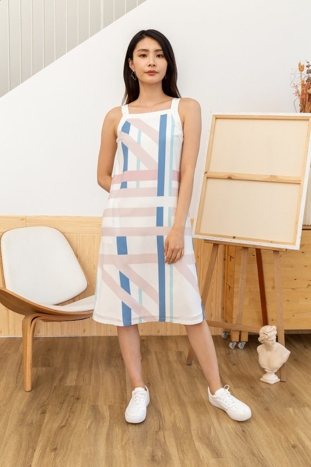Helena Abstract Cut-In Midi Dress in White