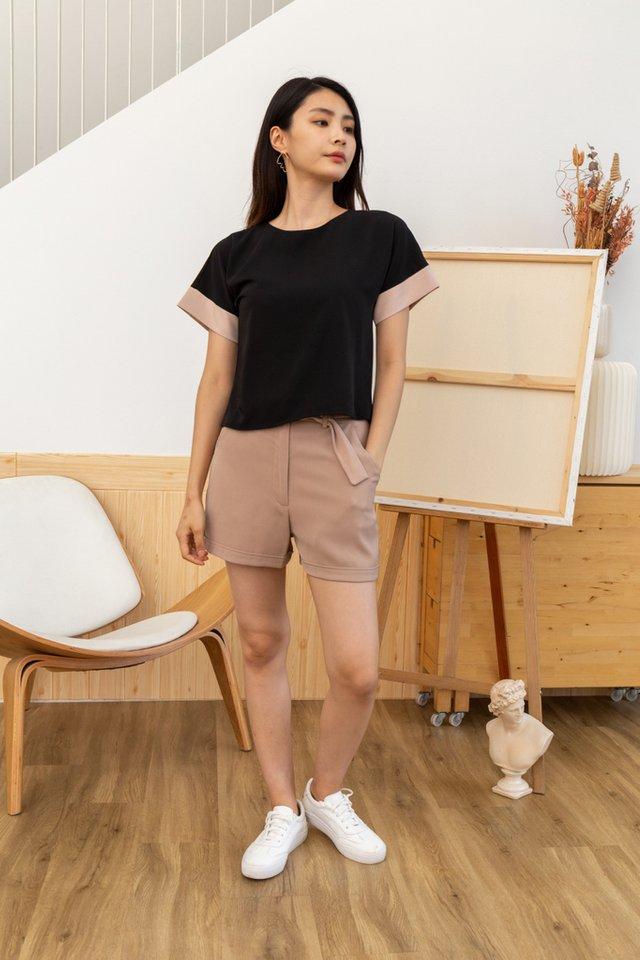 Flavia Colourblock Top in Black
