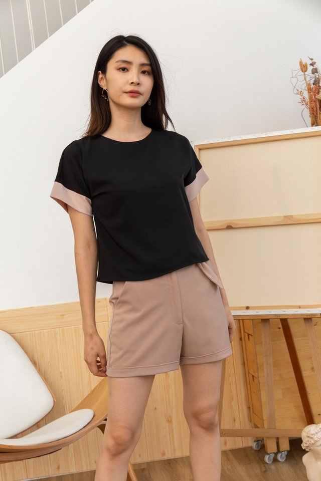 Flavia Colourblock Top in Black