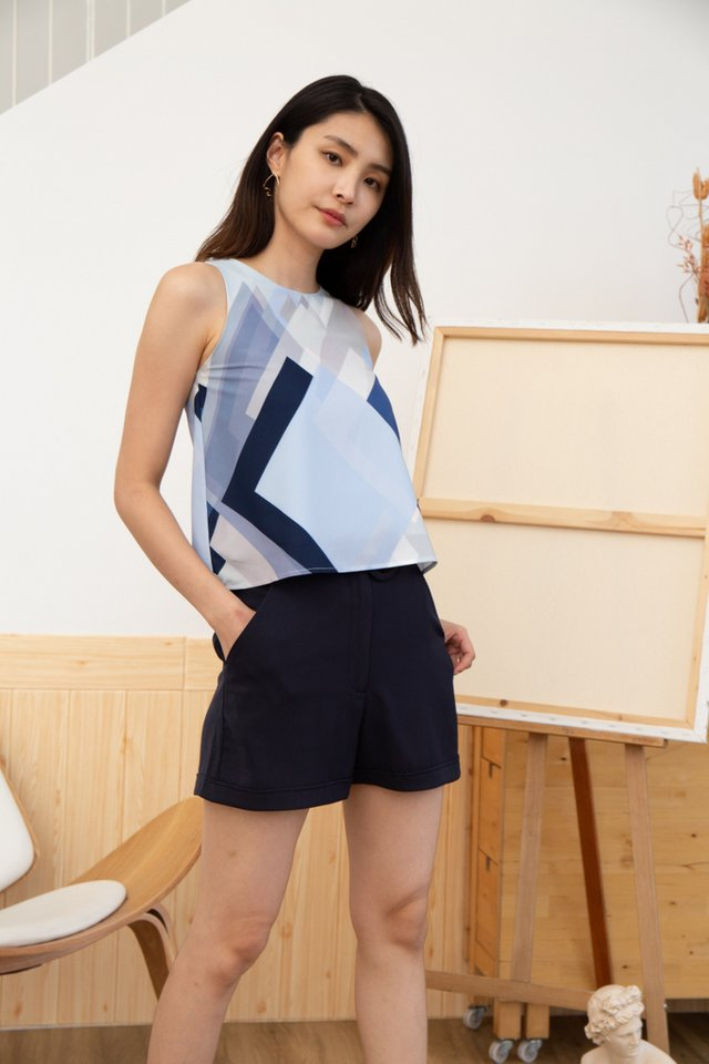 Liana Geometric Top in Light Blue