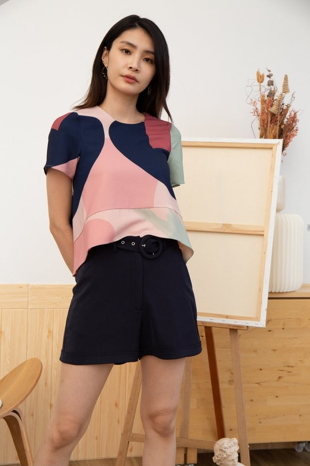Hadley Abstract Sleeved Drape Top in Pink
