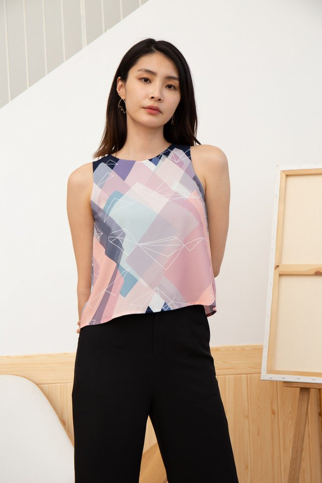 *BACKORDER* Liana Geometric Top in Navy