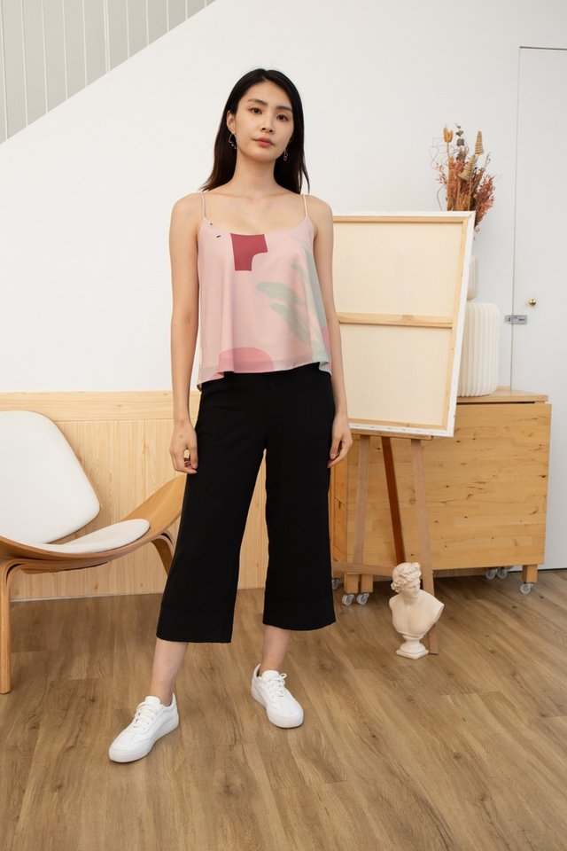 Rosalie Abstract Sleeveless Top in Pink