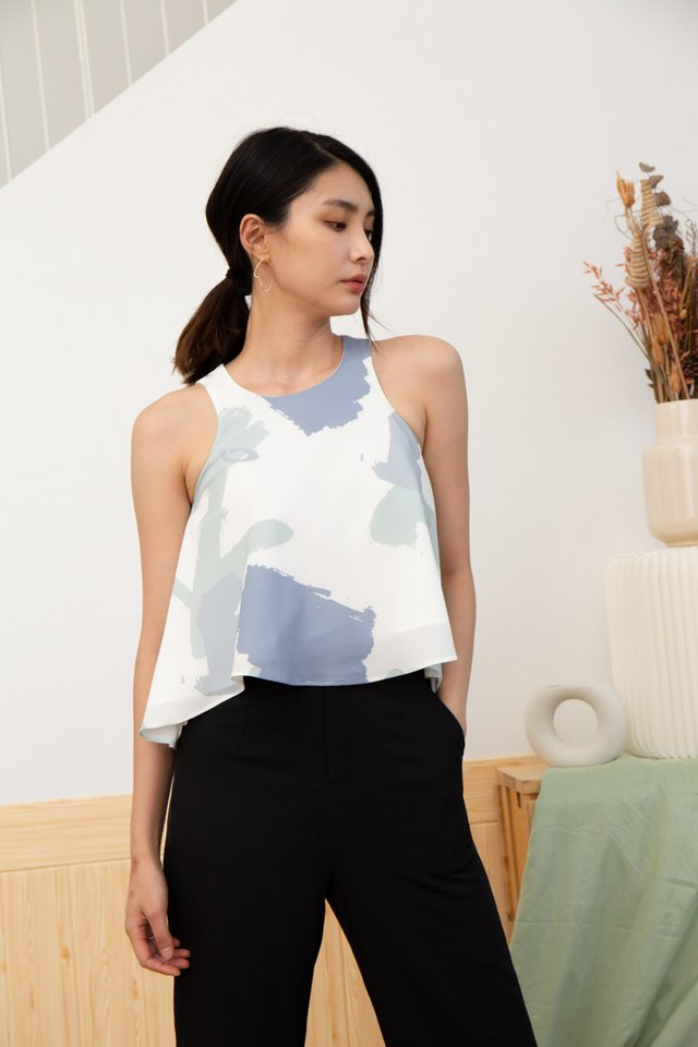 Emersyn Abstract Cut-In Top in Sage