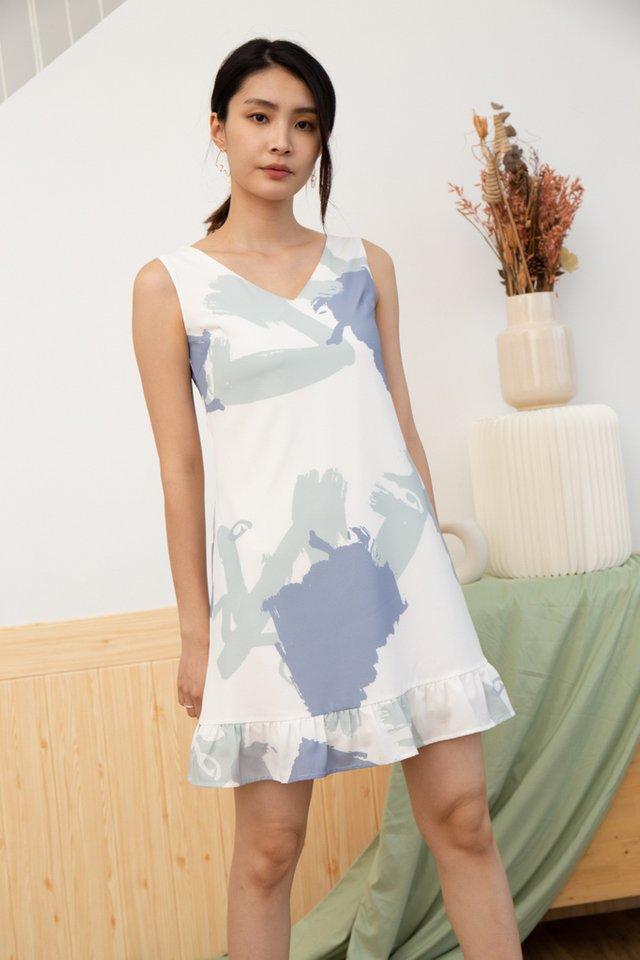 Valeria Abstract Dropwaist Dress in Sage