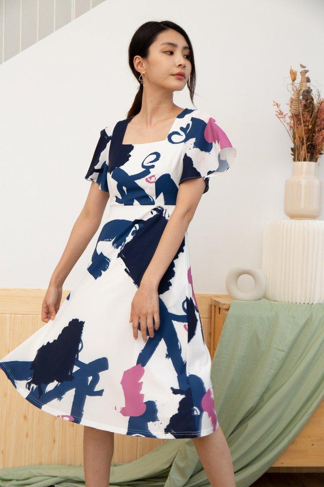 Serena Abstract Square Neck Midi Dress in Navy