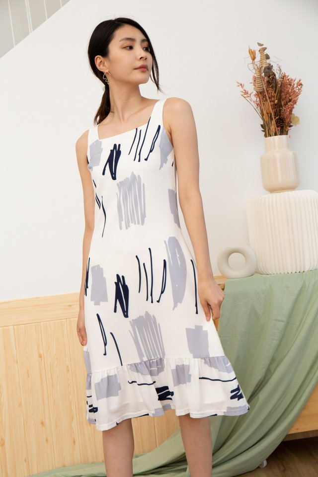 Lorena Abstract Dropwaist Midi Dress in Blue