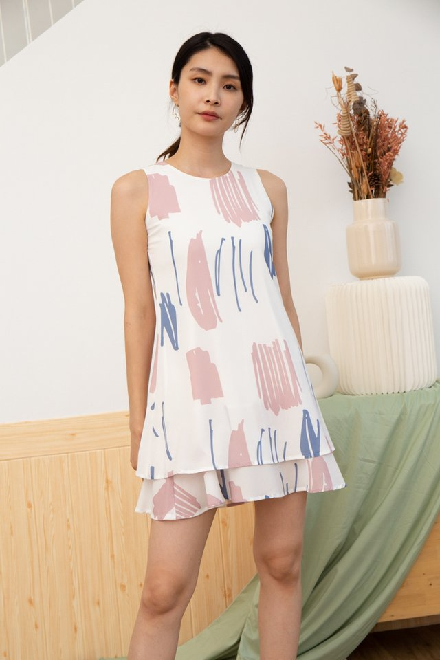 Fianna Abstract Tiered Hem Dress in Pink