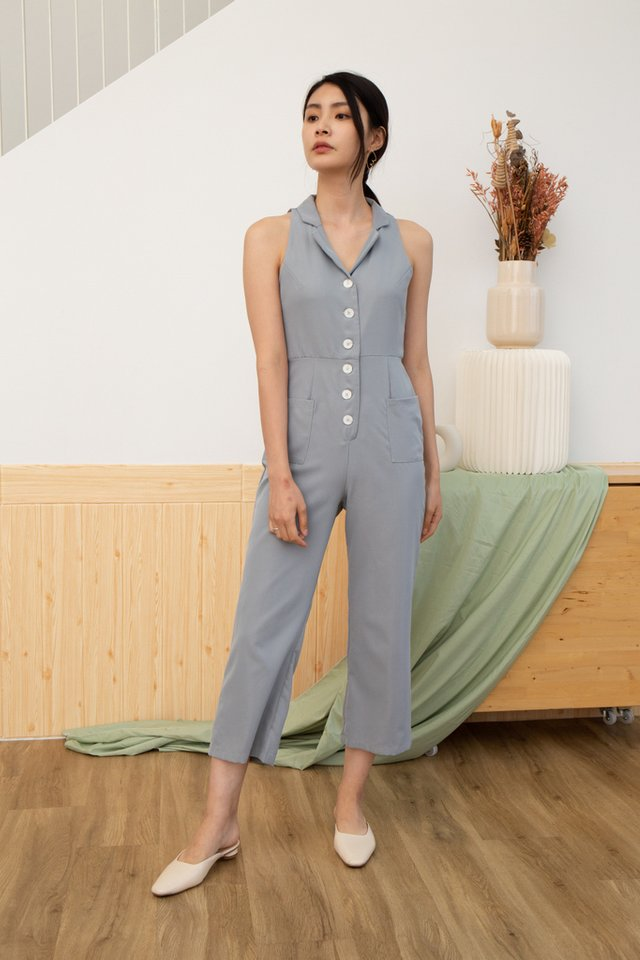 Whitlee Collar Button Jumpsuit in Dusty Blue