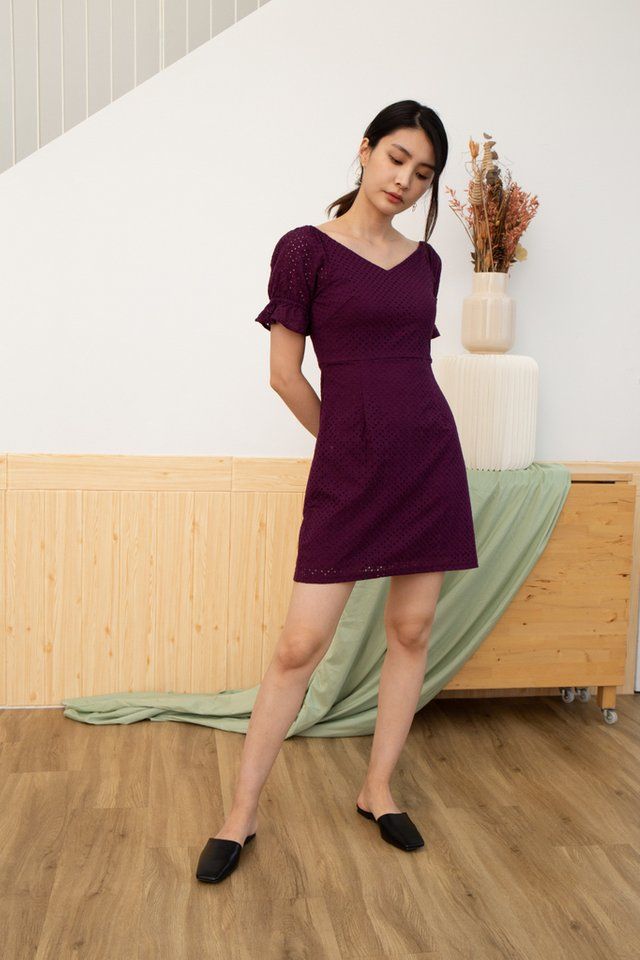 Quinzel V-Neck Eyelet Dress in Plum