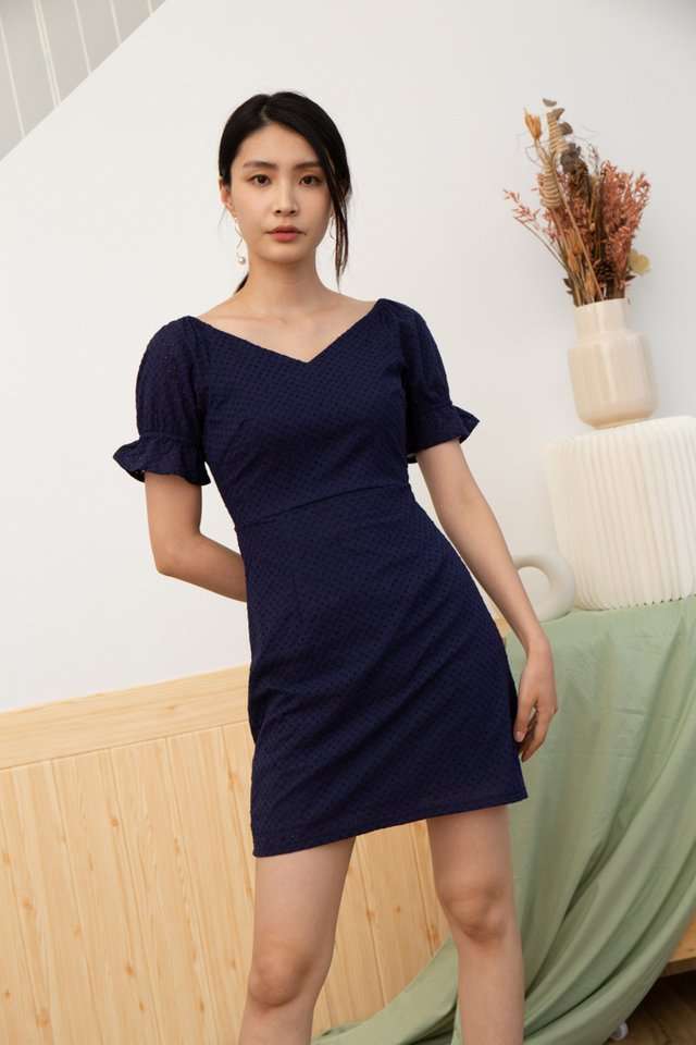 Quinzel V-Neck Eyelet Dress in Navy