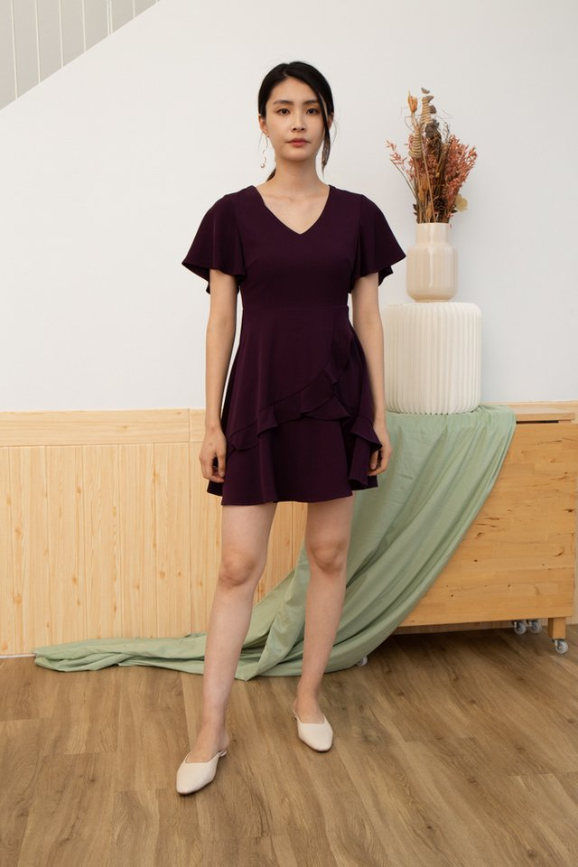 Alina Tiered Ruffles Skater Dress in Plum