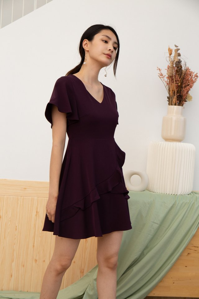 Alina Tiered Ruffles Skater Dress in Plum (XS)