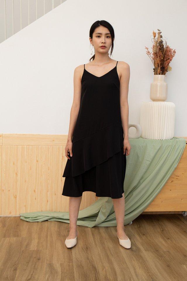 Lexie Tiered Midi Dress in Black