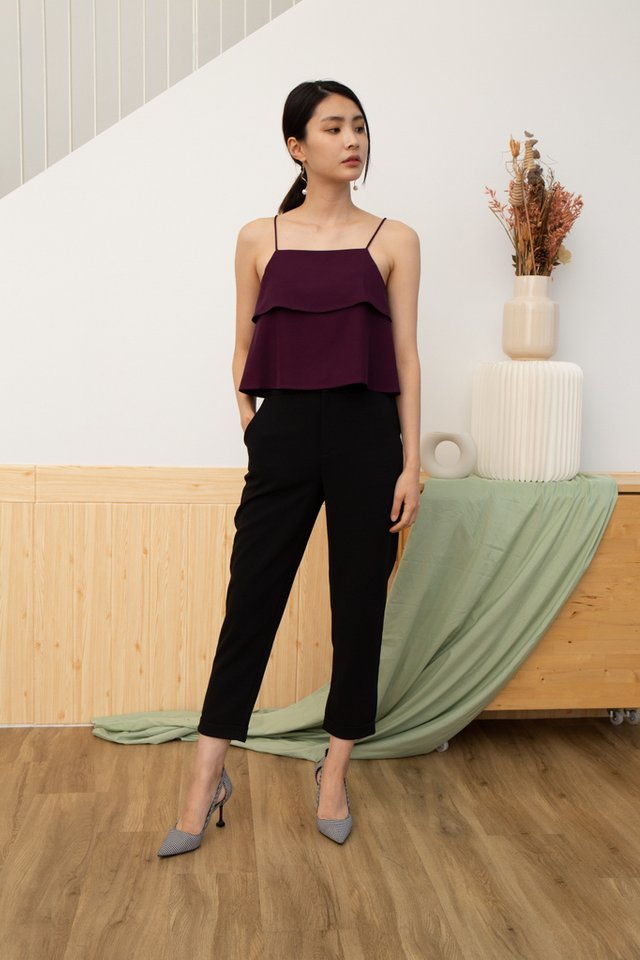 Camila Tiered Camisole Top in Plum
