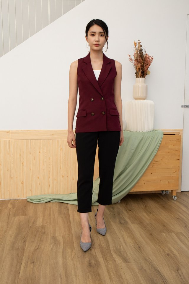 Kayo Double-Breasted Vest in Maroon