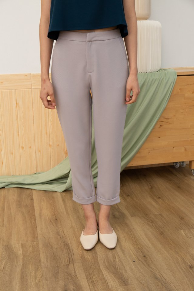 Nyasia Cuffed Hem Pants in Grey