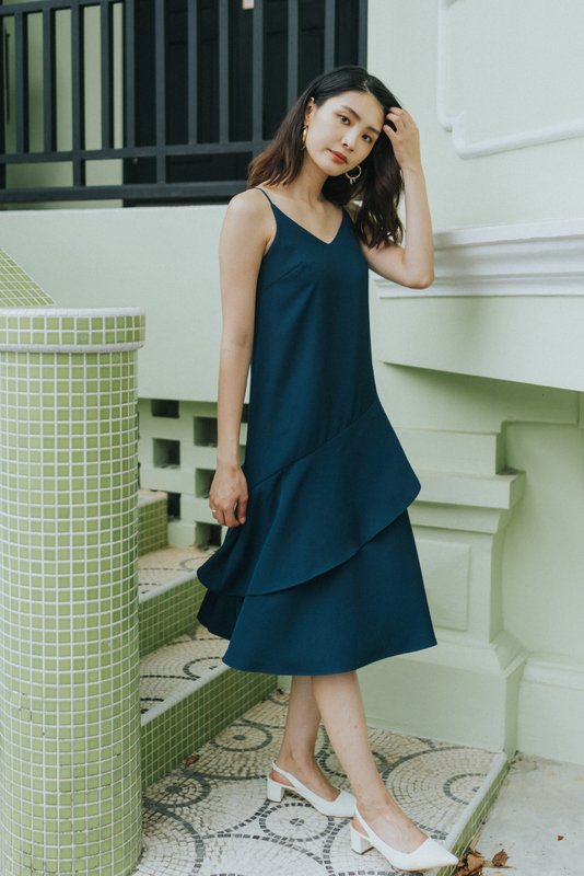 Lexie Tiered Midi Dress in Teal